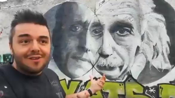 Η αντίδραση του Πέτρου Πολυχρονίδη όταν είδε γκράφιτι με τον Καραθεοδωρή στην Αθήνα