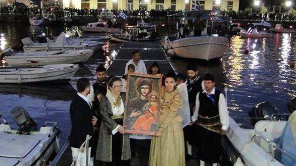 Αναπαράσταση «Άφιξη της εικόνας της Παναγίας της Τρυφώτισσας από την Αίνο»