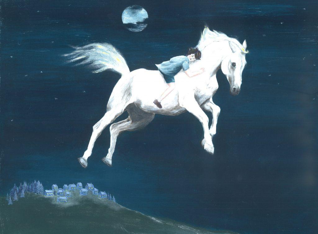 Το άλογο πετάει μαζί με το παιδί πάνω από την πόλη